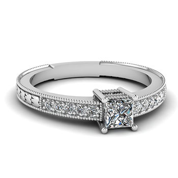 Half Carat Princess Cut Diamond Vintage Engagement Ring In White Gold
