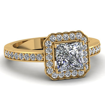 3/4 Carat Princess Cut Women Diamond Engagement Ring