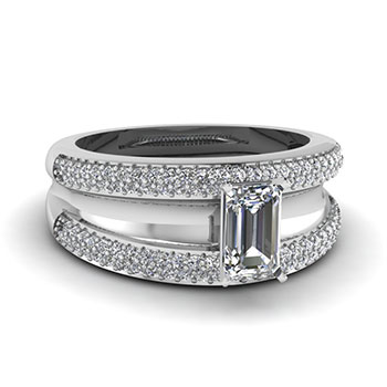 1 Ct Emerald Cut Diamond Engagement Ring In White Gold