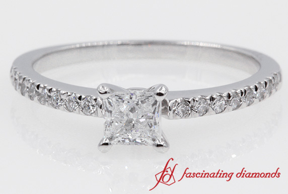 Delicate Princess Cut Diamond Engagement Ring in White Gold
