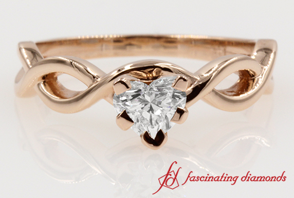 0.50 carat Heart Diamond Braided Engagement Ring in Rose Gold