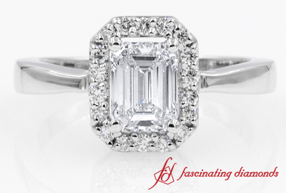 1 Carat Emerald Cut Halo Diamond Engagement Ring in White Gold