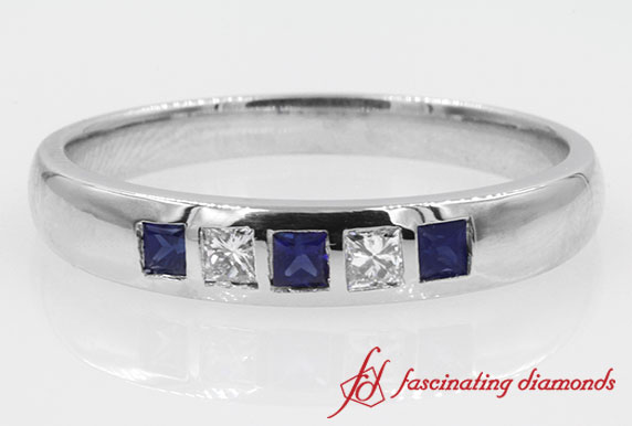 Stone Flush Set Princess Cut Diamond With Sapphire Band For Men In