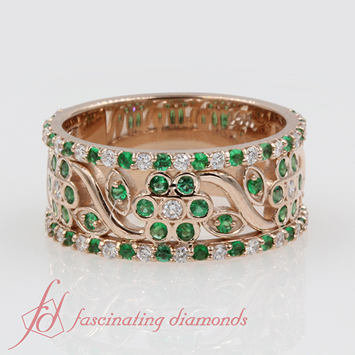 Floral Diamond And Emerald Thick Band in 14k Rose Gold