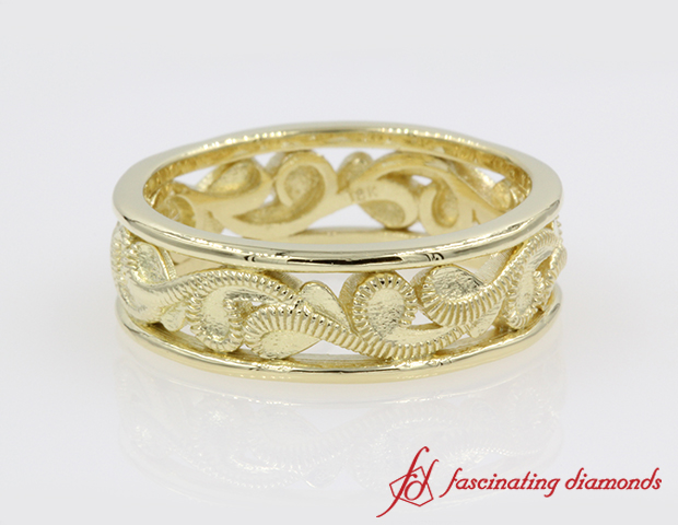 Eternity Filigree Wedding Band in 14K Yellow Gold