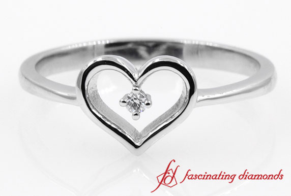 Open Heart Round Diamond Promise Ring