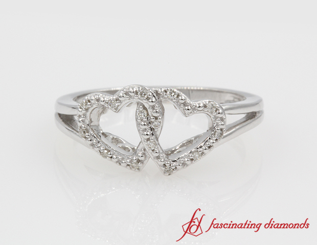 Interlinked Heart Diamond Promise Ring in Sterling Silver