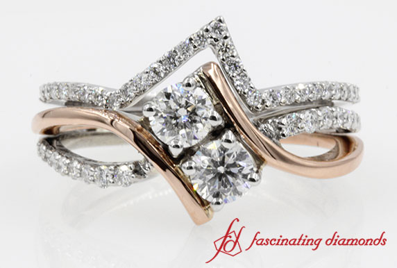 2 Stone Bridal Ring With Two Tone Thin Wedding Band