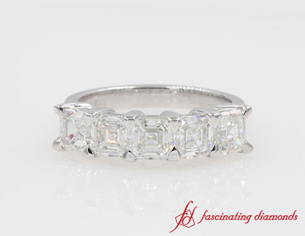 Asscher Cut Five Stone Diamond Ring