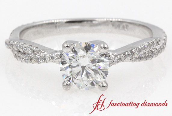 1 Ct Round Diamond Twisted Engagement Ring