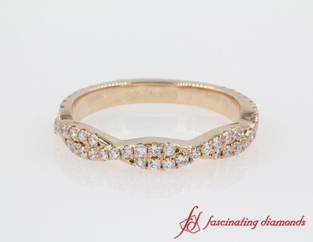 Twisted Vine Diamond Band in 14k Rose Gold