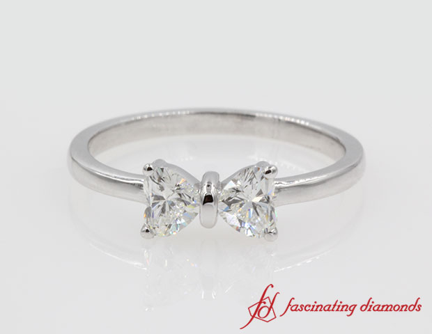 2 Heart Shaped Bow Diamond Ring in 14k White Gold