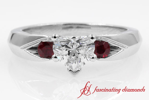 Broad 3 Stone Heart Diamond With Ruby Engagement Ring in White Gold