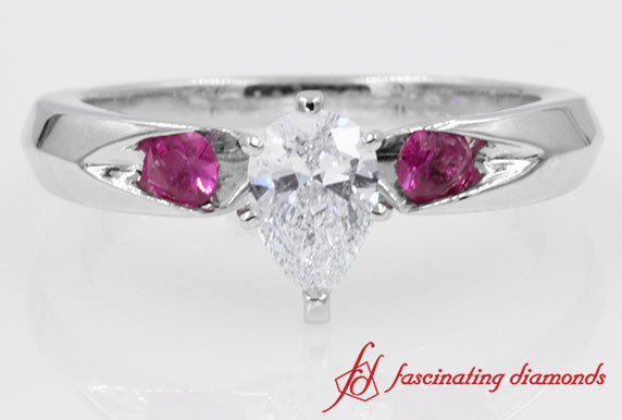 Pear Diamond With Pink Sapphire Ring