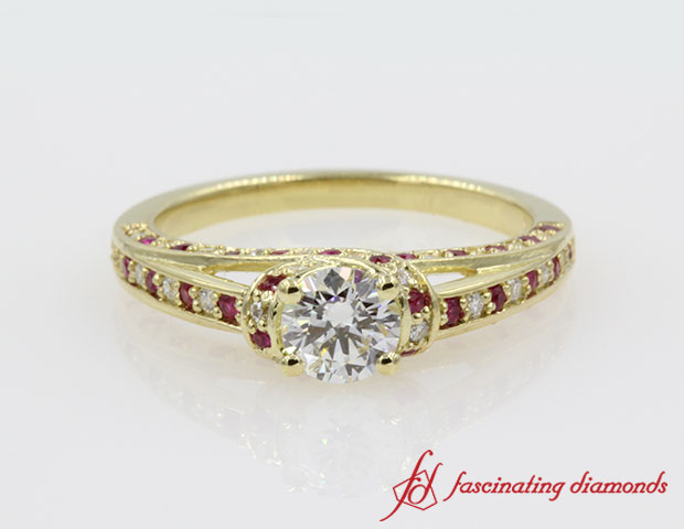Crossover Halo Round Diamond Engagement Ring in 14k Yellow Gold