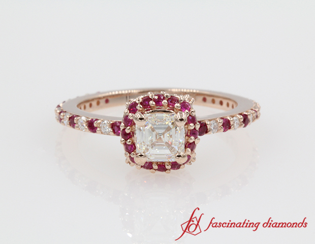 Asscher Diamond With Ruby Engagement Ring
