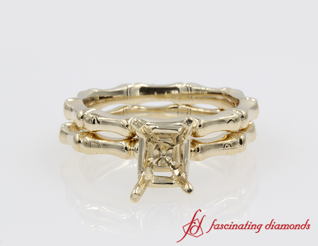 Bone Design Wedding Set Without Center Stone in 14K Yellow Gold