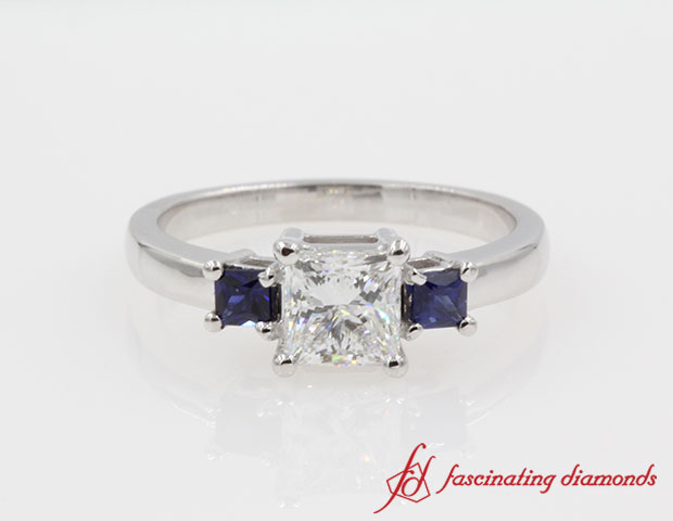 Princess Cut diamond With Sapphire 3 Stone Ring in 14k White Gold