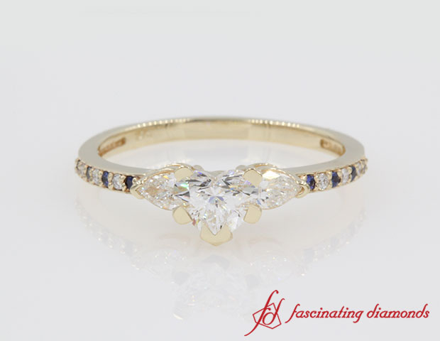 Heart And Pear Accent Diamond With Sapphire Ring in 14k Yellow Gold
