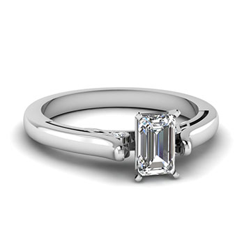 0.50 Ct. Emerald Cut Diamond Engagement Ring For Her