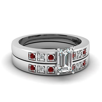0.50 Ct. Emerald Cut Diamond Wedding Ring Set