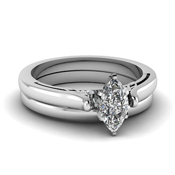 0.50 Ct. Marquise Cut Diamond Wedding Ring Set
