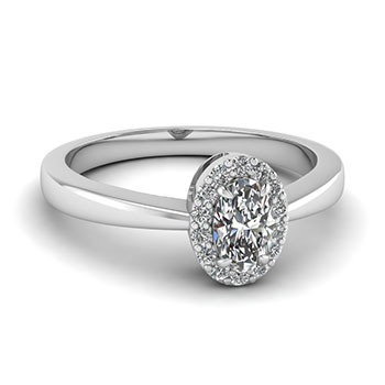 Women Engagement Ring Half Carat Oval Shaped Diamond