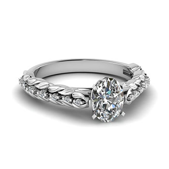 0.50 Ct. Oval Shaped Diamond Engagement Ring For Her