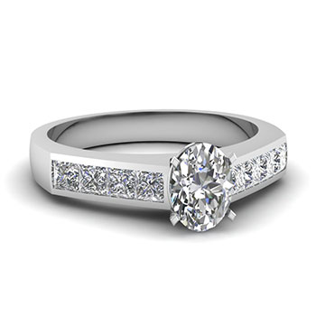 1 Ct Oval And Princess Cut Diamond Engagement Ring In White Gold