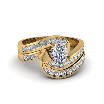 1 Ct. Oval Shaped Diamond Ring In Gold