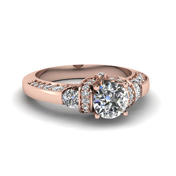 1 Carat Round Cut Diamond Engagement Ring