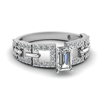 1 Ct. Emerald Cut Diamond Women Engagement Ring