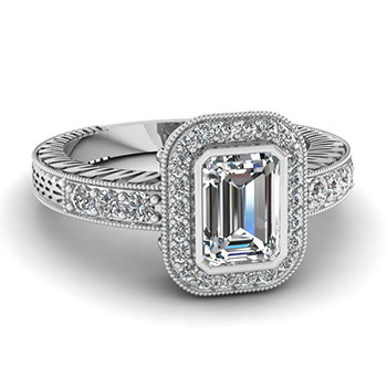 1 Carat Emerald Cut Diamond Ring