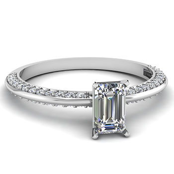 0.75 Ct. Emerald Cut Diamond Engagement Ring