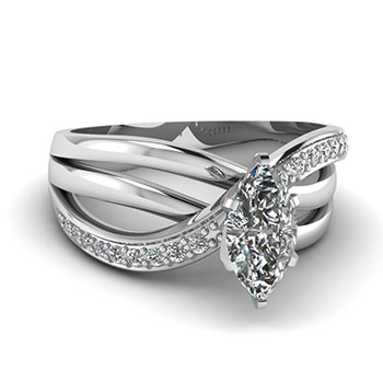 0.50 Carat Marquise Diamond Engagement Rings