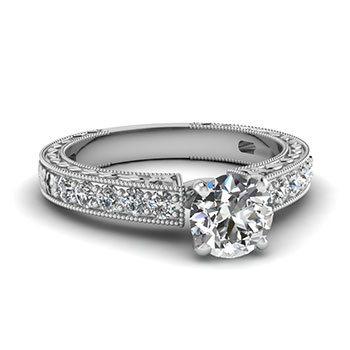 3/4 Carat Round Cut Diamond Engagement Ring