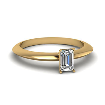0.50 Ct Emerald Cut Diamond Engagement Ring In Yellow Gold