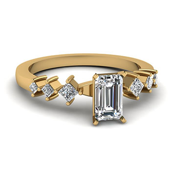 0.50 Ct. Emerald Cut Diamond Engagement Ring For Womens