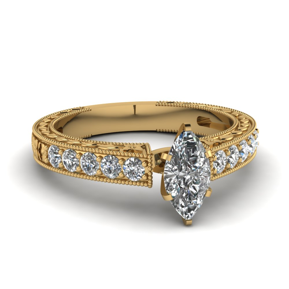 3/4 Carat Marquise Cut Diamond Engagement Ring