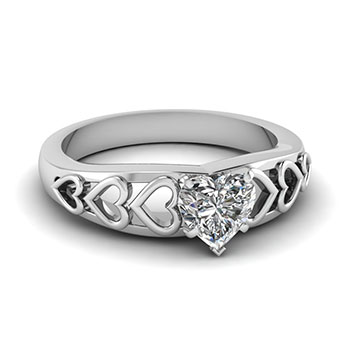 1 Ct. Heart Shaped Diamond Engagement Ring