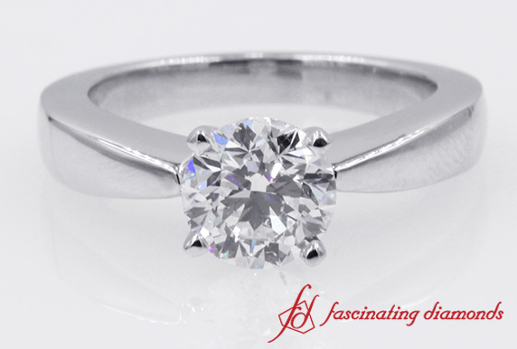 Solitaire Classic Round Cut Diamond Engagement Ring in White Gold