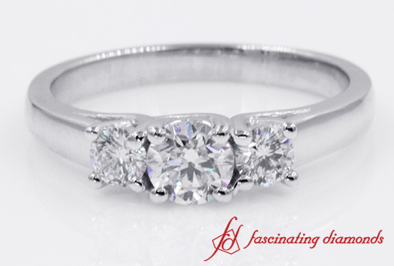 3 Stone Round Diamond Engagement Ring