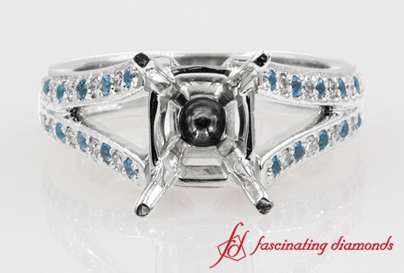 Semi Mount Split Pave Diamond With Sapphire Accent Engagement Ring in White Gold