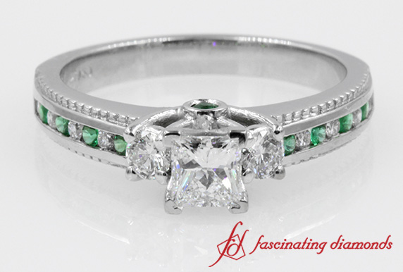 3 Stone Princess Diamond Ring With Emerald In White Gold