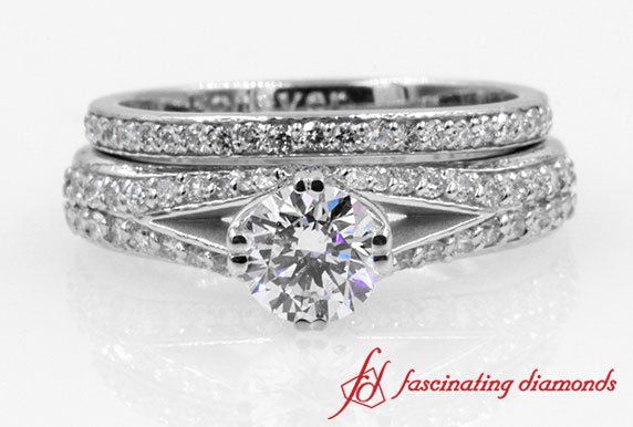 Split Pave Shank Round Diamond Wedding Set