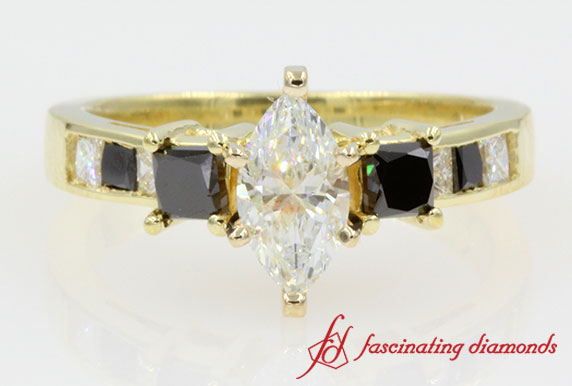 Princess Cut Accent 3 Stone Marquise Diamond Engagement Ring in Yellow Gold