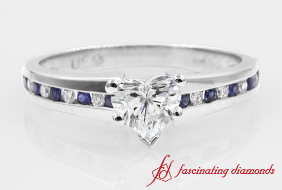 Beautiful Channel Heart Diamond With Sapphire Engagement Ring in White Gold