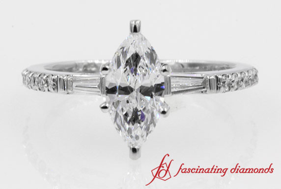 Simple Band Baguette With Marquise Diamond Engagement Ring in White Gold