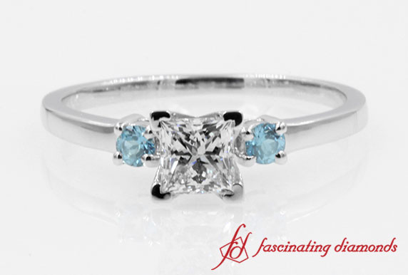 Princess Diamond With Topaz Engagement Ring
