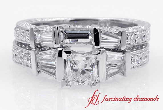 Vintage Style Baguette With Princess Cut Diamond Wedding Set in White Gold